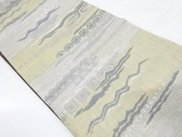 横段に抽象模様織出し袋帯【リサイクル】【中古】