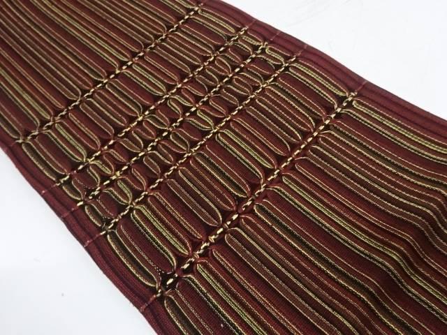 縞に抽象模様袋帯【リサイクル】【中古】