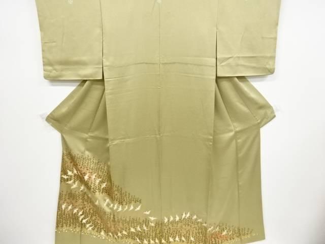 金彩松・梅に雀模様刺繍五つ紋色留袖【リサイクル】【中古】