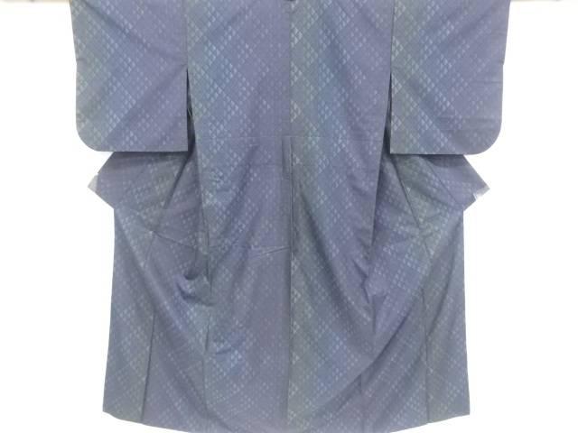 鱗模様織り出し本場泥大島紬単衣着物(7マルキ)【リサイクル】【中古】