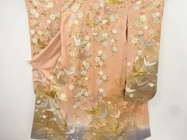 金彩群鶴に枝垂れ桜・波模様刺繍振袖【リサイクル】【中古】