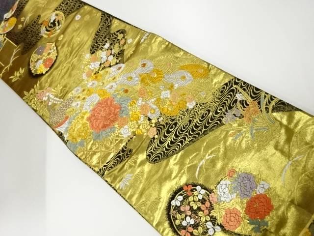 本金二重箔織孔雀に牡丹模様織出し袋帯【リサイクル】【中古】