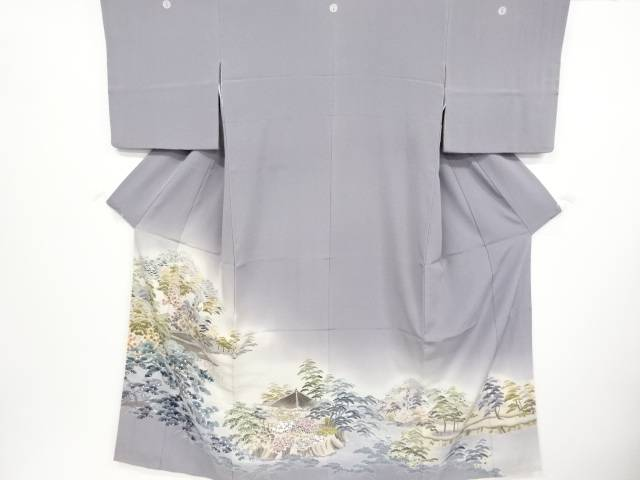 岡村蒼風作 手描友禅寺院風景模様三つ紋色留袖(比翼付き)【リサイクル】【中古】