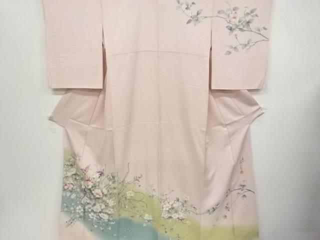 二代目 清次郎作 手描き芙蓉に菖蒲枝花模様一つ紋訪問着【リサイクル】【中古】