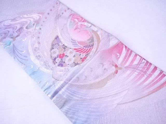 袋帯 西陣織 孔雀に古典草花文【リサイクル】【中古】