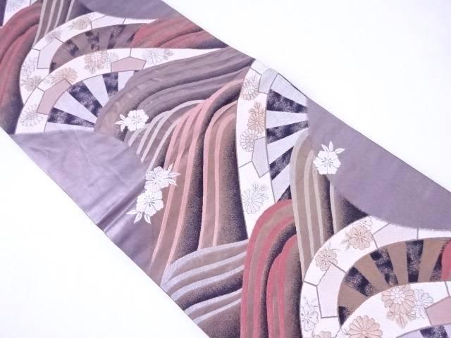 袋帯 全通柄 片輪車に花散らし文【リサイクル】【中古】