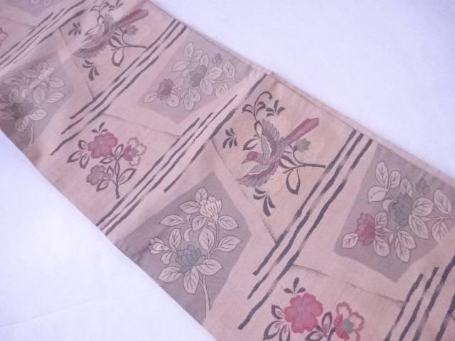 袋帯 色紙に花鳥文【リサイクル】【中古】