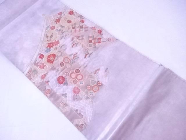 袋帯 幔幕に古典草花と亀甲・七宝文【リサイクル】【中古】