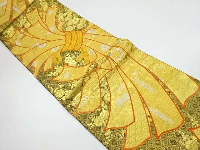純金箔吉祥小袖熨斗文織出し全通袋帯【リサイクル】【中古】