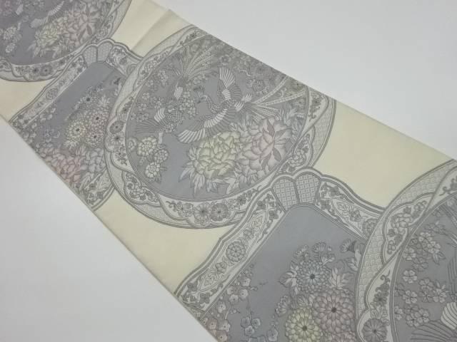 未使用品 絵皿に鳳凰・花々模様織出し袋帯【リサイクル】【中古】