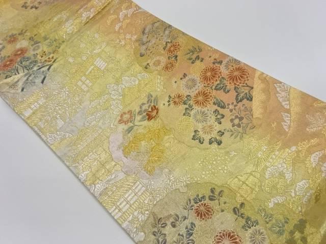 茶屋辻に雪輪・花々模様織出し袋帯【リサイクル】【中古】