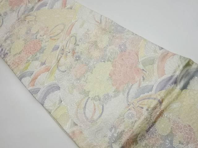 扇子に花々模様織出し袋帯【リサイクル】【中古】