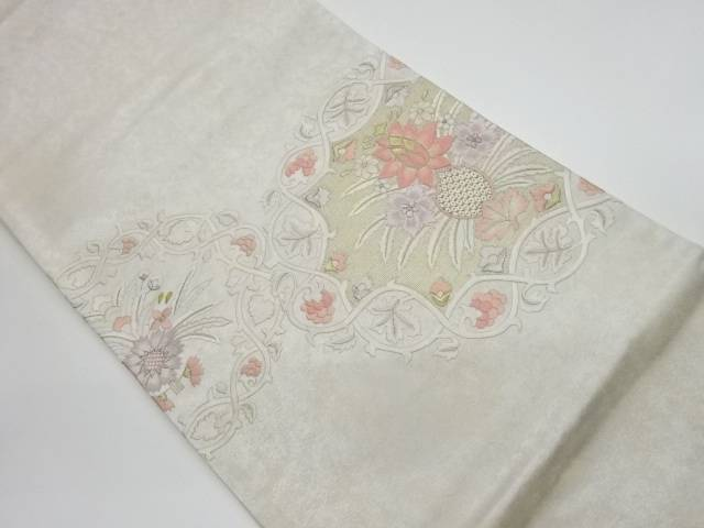 蘇州刺繍花々に葡萄模様袋帯【リサイクル】【中古】