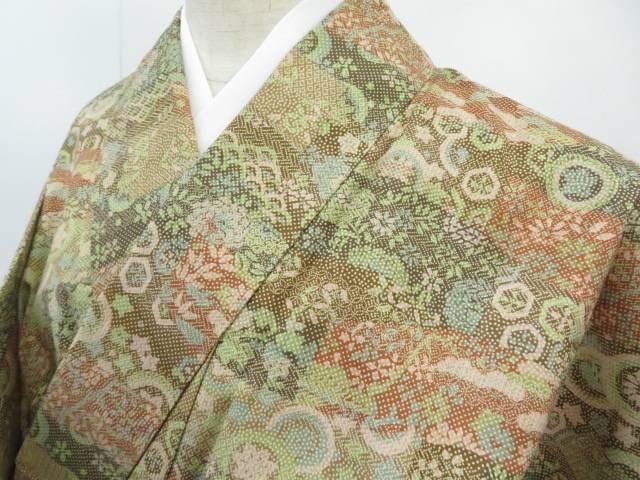 紬 幾何学取りに古典文 着物【リサイクル】【中古】