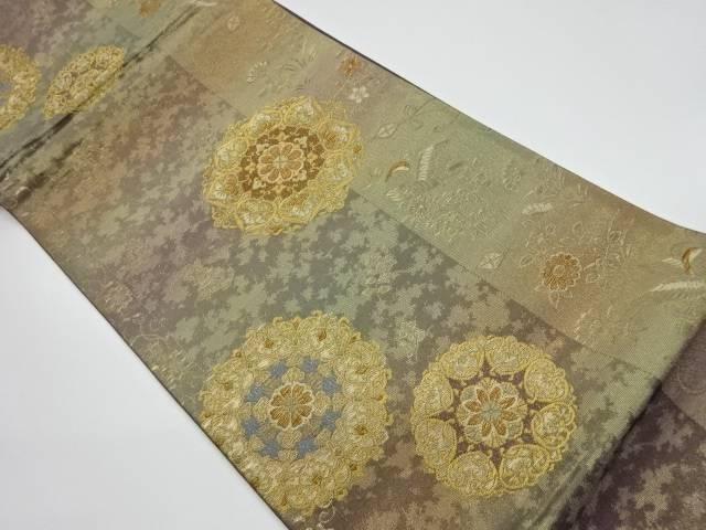 華紋に花鳥模様織出し袋帯【リサイクル】【中古】