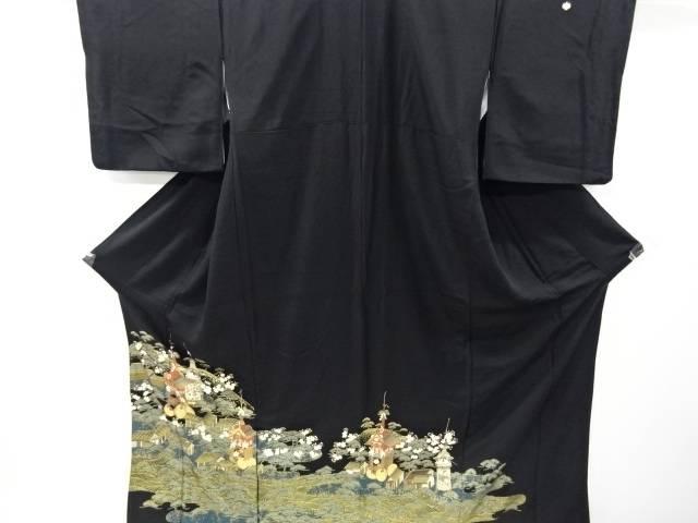 金彩山車に松・桜模様留袖(比翼付き)【リサイクル】【中古】
