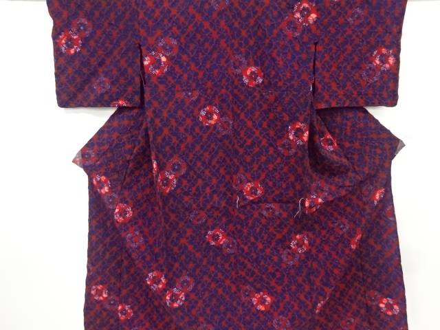 未使用品 仕立て上がり 本絞り花丸紋様単衣着物