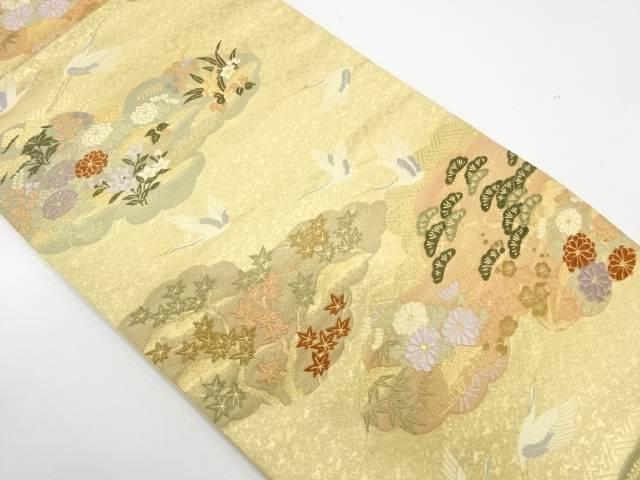 本金箔鶴に草花模様織出し袋帯【リサイクル】【中古】