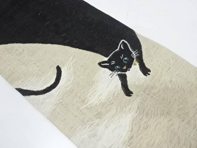 すくい織猫模様織出し袋帯【リサイクル】【中古】