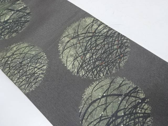 丸紋に露芝模様織出し袋帯【リサイクル】【中古】