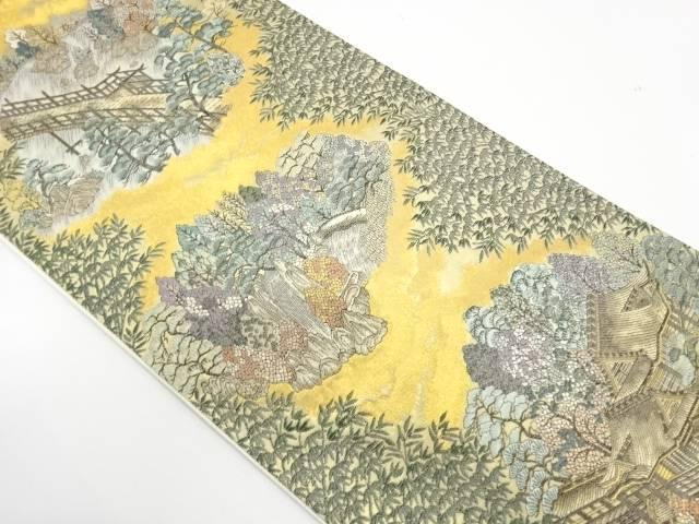名所嵐山離宮園織出し袋帯【リサイクル】【中古】