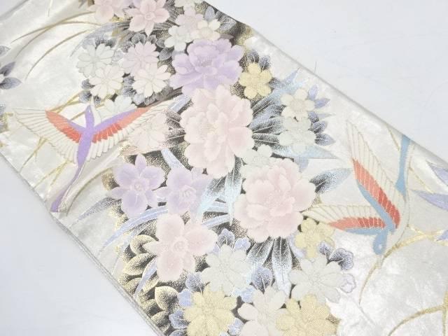 芝草に花鳥模様織出し袋帯【リサイクル】【中古】