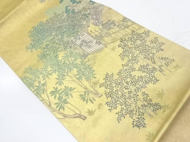引箔竹垣に樹木模様織出し袋帯【リサイクル】【中古】