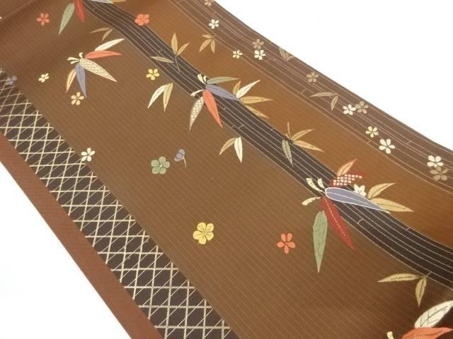 未使用品 竹縞に笹・花模様織出し袋帯【リサイクル】【中古】