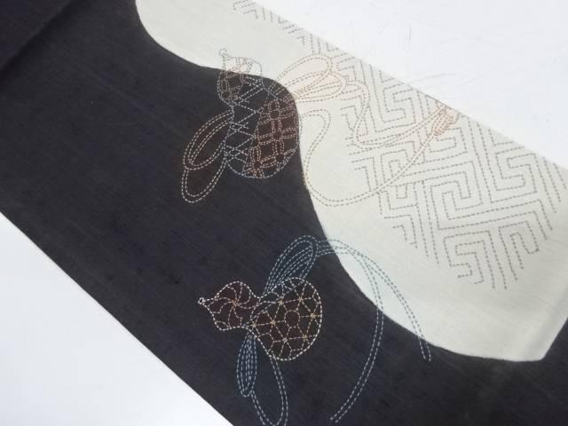 手織り紬刺子瓢箪に古典柄模様開き名古屋帯(額縁仕立て)【リサイクル】【中古】