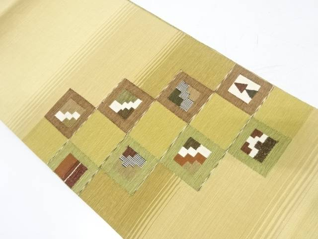 変わり市松に抽象模様織出しリバーシブル袋帯【リサイクル】【中古】