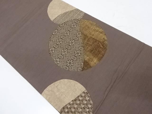 切り嵌め丸紋に抽象模様袋帯【リサイクル】【中古】
