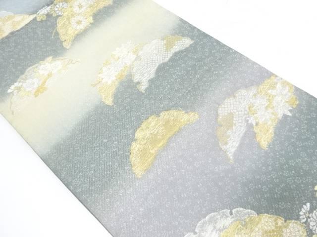 雪輪に草花・紅葉模様織出し袋帯【リサイクル】【中古】