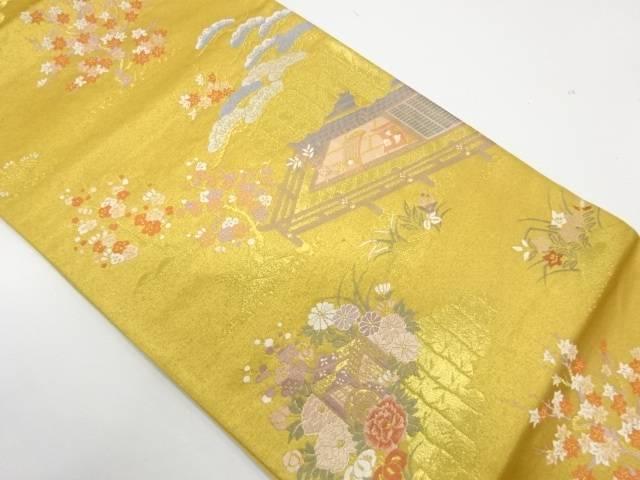 屋敷風景模様織出し袋帯【リサイクル】【中古】