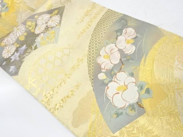 未使用品 純金二重箔地紙に椿・草花模様織出し袋帯【リサイクル】【中古】