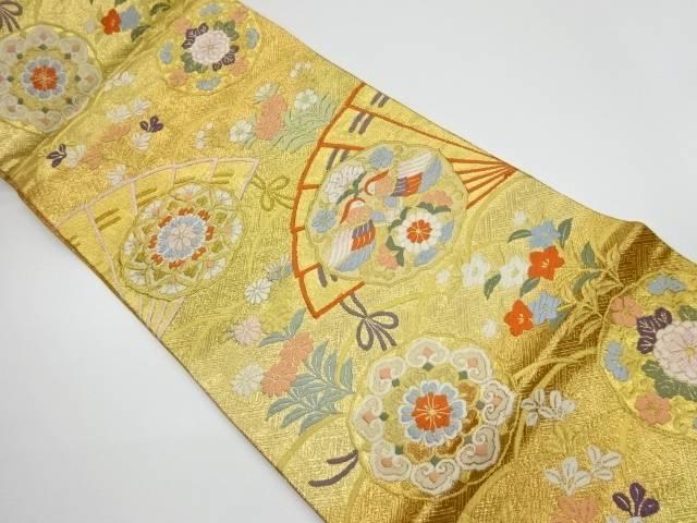 唐織佐賀錦純金箔二重織檜扇・雪輪に花鳥模様織出し袋帯【リサイクル】【中古】