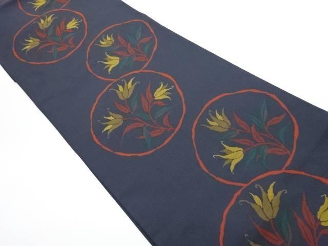 丸紋に花模様織出し洒落袋帯【リサイクル】【中古】