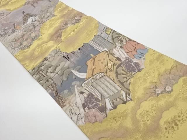 純金箔業平望郷之図模様織出し袋帯【リサイクル】【中古】