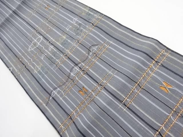 未使用品 変り織り刺し子横段に花更紗模様織出し袋帯【リサイクル】【中古】