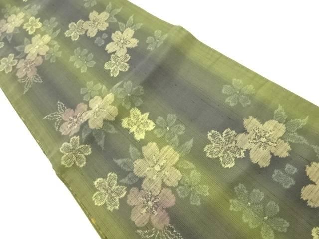 縦節紬桜模様織出し全通袋帯【リサイクル】【中古】