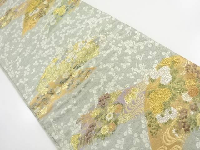 金銀糸遠山に秋草模様織出し袋帯【リサイクル】【中古】