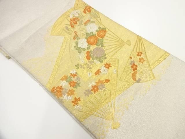 綴れ扇に菊紅葉模様織出し袋帯 リサイクルfv6gbyIY7m