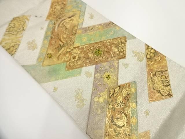 金彩螺鈿鳳凰に草花模様袋帯【リサイクル】【中古】