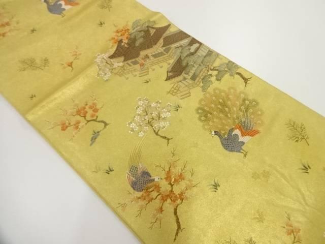 本金・金泥箔宮中金鶏絵図織出し袋帯【リサイクル】【中古】