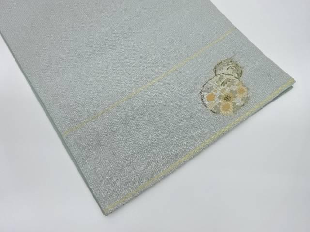 酒井守製 丸紋に草花模様織出し袋帯【リサイクル】【中古】