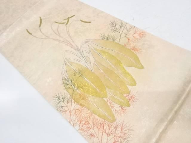 作家物 銀彩草花模様袋帯【リサイクル】【中古】