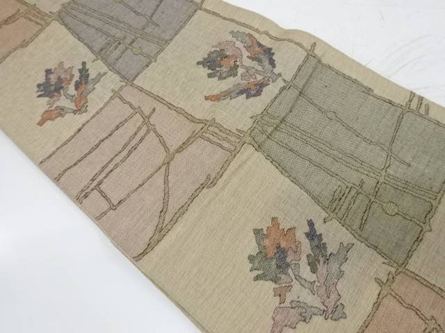 花格子模様織出し袋帯【リサイクル】【中古】