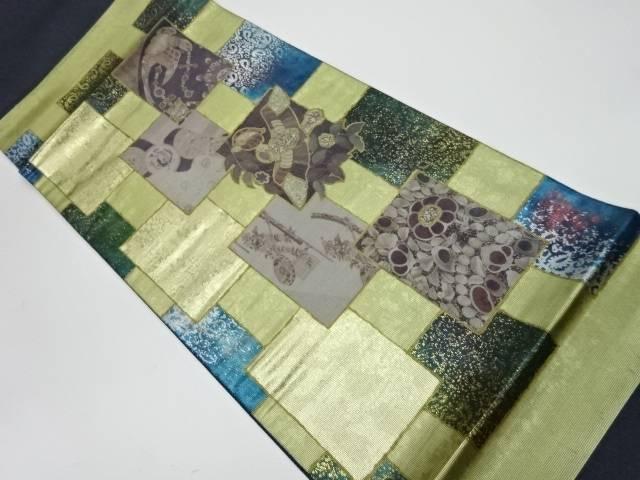 螺鈿色紙に花鳥模様織出し袋帯【リサイクル】【中古】