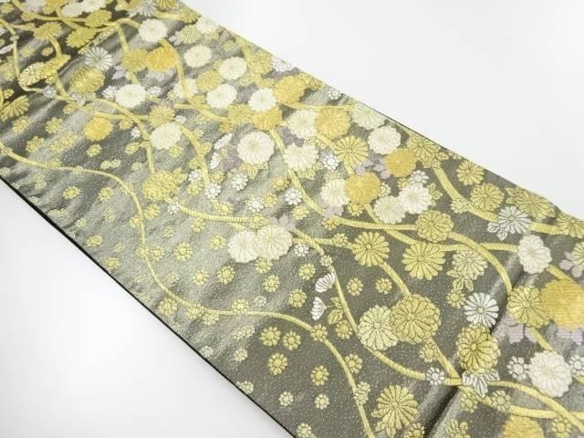 金銀糸よろけ縞に菊模様織出し袋帯【リサイクル】【中古】