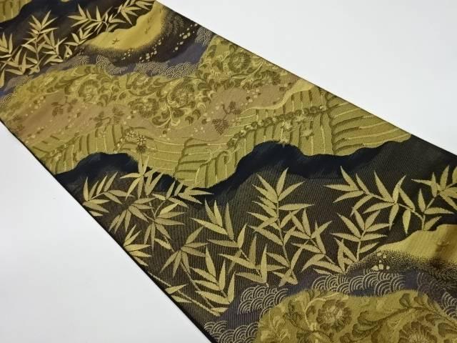 道長取りに草葉模様織出し袋帯【リサイクル】【中古】