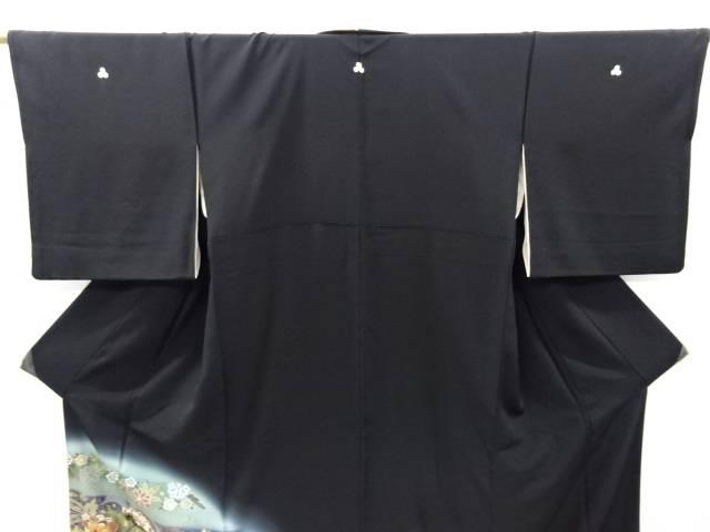 作家物 横段に唐花・華紋模様刺繍留袖 比翼付きリサイクルQCBtxshrd